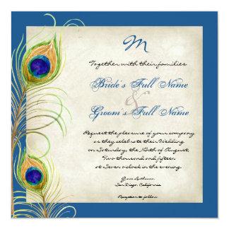 El pavo real empluma la invitación del boda invitación 13,3 cm x 13,3cm
