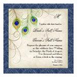 El pavo real empluma la invitación del boda de los