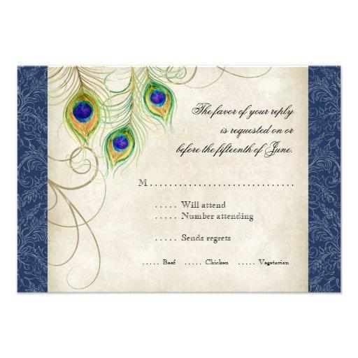 El pavo real empluma la invitación del boda del az