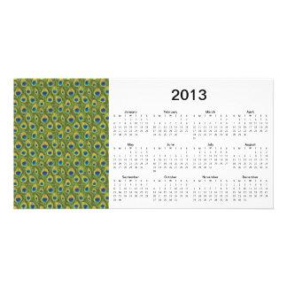 El pavo real empluma la tarjeta de la foto de 2013 tarjeta fotográfica personalizada