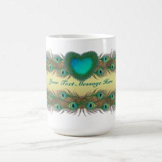 El pavo real empluma las tazas decorativas para