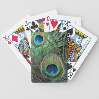 El pavo real empluma naipes baraja cartas de poker