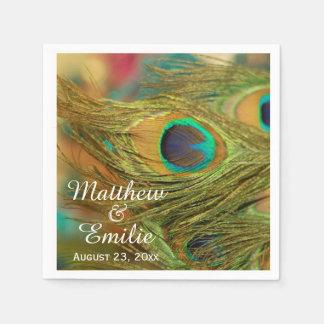 El pavo real empluma servilletas del boda servilletas de papel