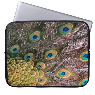 El pavo real empluma verde esmeralda y el oro fundas computadoras