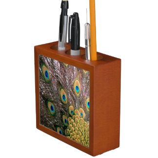El pavo real empluma verde esmeralda y el oro organizador de escritorio