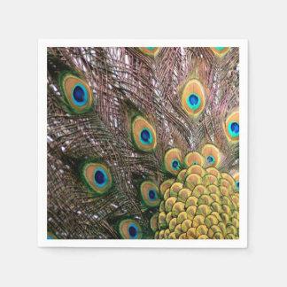 El pavo real empluma verde esmeralda y el oro servilleta de papel