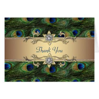 El pavo real esmeralda del oro del azul real le tarjeta pequeña