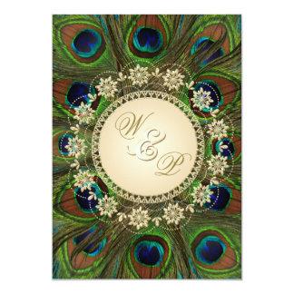 El pavo real floral del oro empluma la invitación invitación 12,7 x 17,8 cm