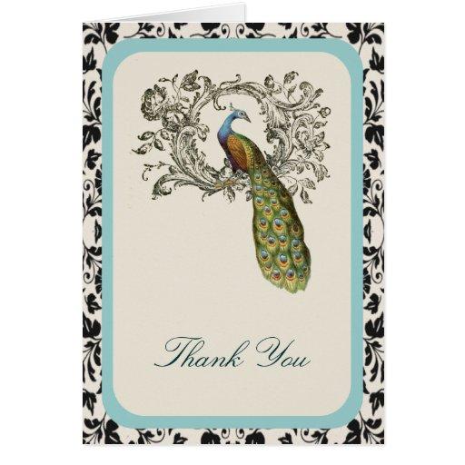 el pavo real floral del vintage elegante de los tarjeta pequeña