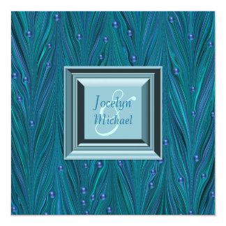 """El pavo real gotea el boda azul del trullo púrpura invitación 5.25"""" x 5.25"""""""