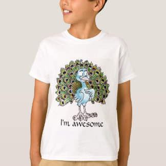El pavo real impresionante embroma la camiseta polera