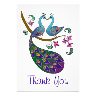 El pavo real le agradece (Kantha /white) tarjeta d Comunicados Personalizados