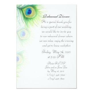 El pavo real pintado a mano empluma la cena del invitación 12,7 x 17,8 cm