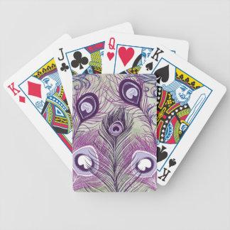 El pavo real púrpura bonito empluma diseño elegant baraja cartas de poker