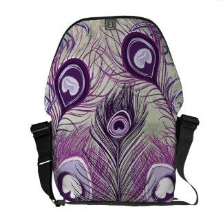 El pavo real púrpura bonito empluma diseño elegant bolsa de mensajería