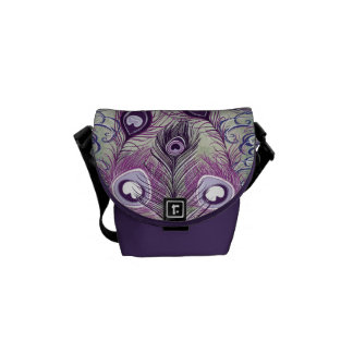 El pavo real púrpura bonito empluma diseño elegant bolsas messenger