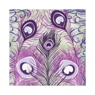 El pavo real púrpura bonito empluma diseño elegant lona envuelta para galerías