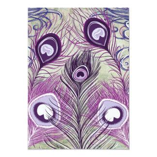 El pavo real púrpura bonito empluma diseño invitación 12,7 x 17,8 cm