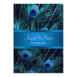 El pavo real púrpura del azul real empluma el boda comunicado personal