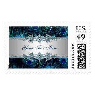 El pavo real púrpura del azul real empluma el boda sellos
