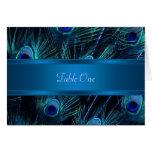 El pavo real púrpura del azul real empluma el boda tarjeta
