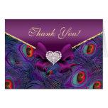 El pavo real púrpura del ciruelo le agradece carda felicitacion