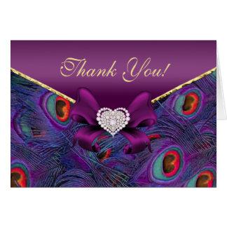 El pavo real púrpura del ciruelo le agradece tarjeta de felicitación
