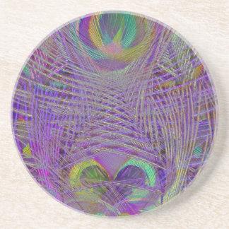 El pavo real púrpura empluma el práctico de costa posavasos personalizados