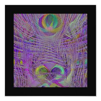 El pavo real púrpura empluma invitaciones invitaciones personalizada