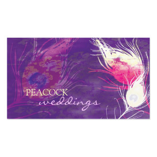 El pavo real púrpura empluma la tarjeta de visita
