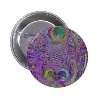 El pavo real púrpura empluma los botones pin