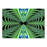 El pavo real que cautiva empluma fractal invitación 8,9 x 12,7 cm