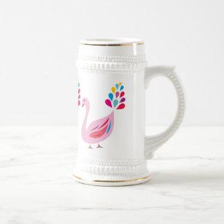 El pavo real rosado tazas
