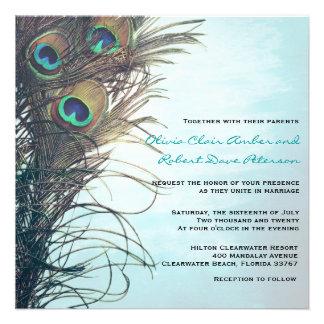 El pavo real simple elegante empluma la invitación