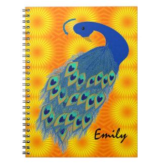 El pavo real verde personalizado diseña el cuadern libros de apuntes con espiral