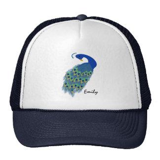 El pavo real verde personalizado diseña el gorra d