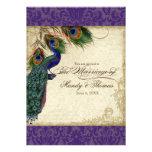 El pavo real y el boda formal de las plumas invita comunicados personales
