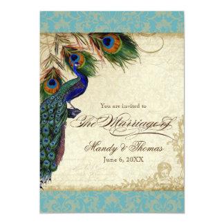 """El pavo real y el boda formal de las plumas invitación 5"""" x 7"""""""