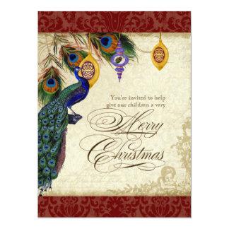 """El pavo real y la fiesta de Navidad formal de la Invitación 6.5"""" X 8.75"""""""