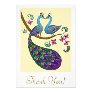El pavo real y Peahen le agradecen cardar (kantha/ Invitaciones Personalizada