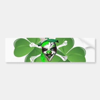 El payaso asustadizo de St Patrick feliz Etiqueta De Parachoque
