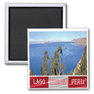 El PE - Perú - el lago Titicaca Imán Cuadrado
