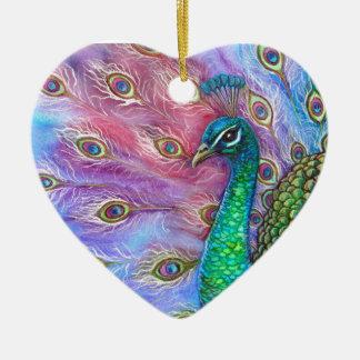 El Peacock. perfecto Adorno Navideño De Cerámica En Forma De Corazón