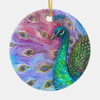 El Peacock. perfecto Adorno Navideño Redondo De Cerámica