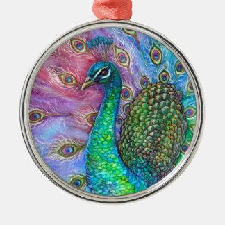 El Peacock. perfecto Adorno Navideño Redondo De Metal