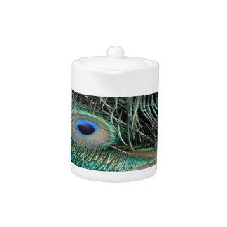El Peafowl empluma puntos iridiscentes   del ojo