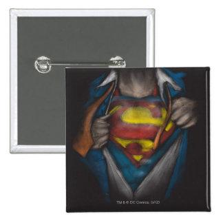 El pecho del superhombre el | revela el bosquejo pin cuadrado