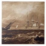 El pedazo del mar del líder, grabado por Charles T Azulejo Cuadrado Grande