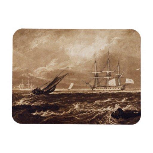 El pedazo del mar del líder, grabado por Charles T Rectangle Magnet