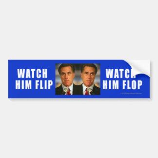 El pegatina Anti-Romney lo mira Flip-Flop Etiqueta De Parachoque